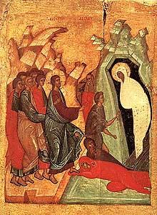 Икона: Воскрешение праведного Лазаря